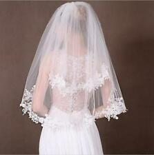 Fashion 2T Elbow lace edge wedding veil white/ivory bridal veil with comb