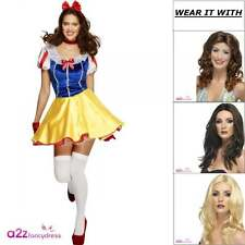 Womens Fever Sexy Fairytale Snow White Adult Ladies Fancy Dress Costume Wig