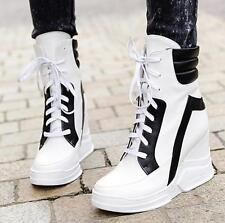 Ladies Warm Velvet Ankle Boots Lace Up Wedge Heel Platform Shoes High Top New Sz