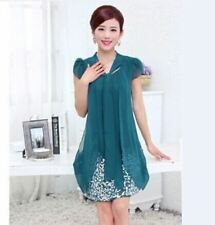 Women Summer Fashion Plus Size Casual Chiffon Floral Print Dress PN1525