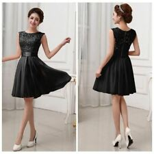Women O Neck Lace Chiffon Fabric Patchwork Sleeveless Party Dress PN1115