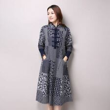 Women Spring Fashion Folk Style Long Sleeved Stand Collar Printed Dress