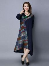 Women Print Patchwork Vintage Casual Cotton Linen Loose Dress PN1221