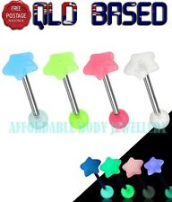 Star Shaped Choose Colour Acrylic Top 316L Steel Tongue Bar Straight Barbell 14g