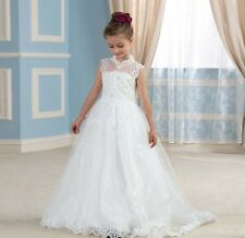 Sweet Tulle Lace Flower Girl Dress High Neck First Communion Princess Dress