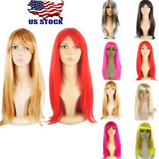 US 50CM Long Straight Wigs Fashion Cosplay Costume Anime Hair Party Full Wigs