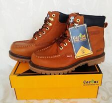 "Cactus Work Boots 625M Light Brown 6"" Moc Toe Real Leather New In Box"