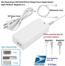 New 45W 60W 85W Charger Power Supply Adapter Apple MacBook with Extension cord