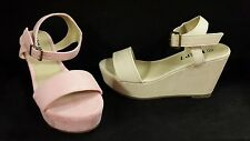 Krush Pink Cream Faux Suede Leather Summer Wedges Shoe Sandals Platform Straps