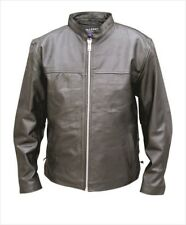 Men's Black Leather Vented Basic Scooter Biker Motorcycle Riding Jacket