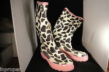 Women's Giraffe Print, Fashion Rain Boots,Ballard Designs,New w/Pink Carry Bag