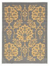Rubber Backed Non-Skid Non-Slip Ivory - Gray Color Floral Design Area Rug