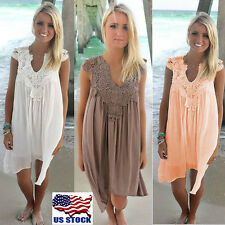 US Women V Neck Lace Patchwork Chiffon Beach Party Sleeveless Loose Mini Dress