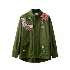 Women's Army Green Embroidered Studded Parka Jacket Unlined Zipper Trench Coat