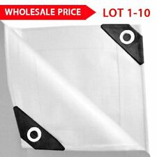 TOP 12 mil Heavy Duty Canopy Tarp WHITE 3pl Coated Tent Car Boat Cover US B2