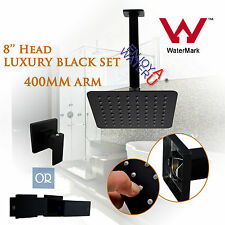 Black 200MM 8'' Shower Head+400MM Ceiling Arm+Mixer OR 1/4 Turn Taps Collection
