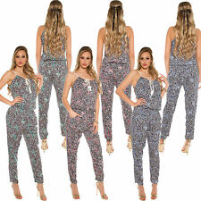 Strap Jumpsuit Overall Playsuit Flower Print Pants dress new Jersey S 34 36