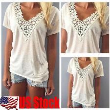 Women Short Sleeve V-Neck Lace Floral Casual T-Shirts Ladies Tops Casual Blouse