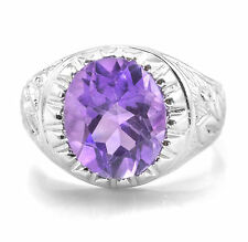 Sterling Silver Ring with Oval Amethyst Natural Gemstone Handcrafted in India.
