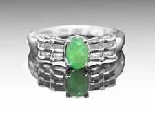 925 Sterling Silver Ring with Oval Cut Natural Green Emerald Gemstone Handmade