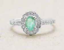 925 Sterling Silver Ring with Green Emerald Oval Cut Natural Gemstone eBay.