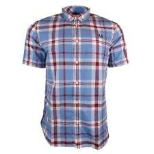 New Gents Fred Perry Bold Check Shirt SS, Glacier, Small, BNWT