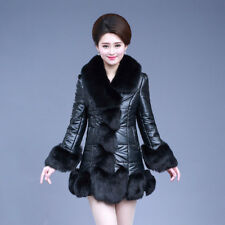 Womens Faux Leather Big Fur Collar Slim Fit Warm Winter Coat Overcoat Parkas New