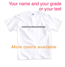 Back to School T-shirt Personalized with Name Grade Text # Embroidered Cotton