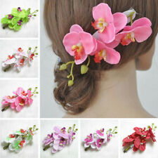 New Women Girl Artificial Orchid Flower Party Wedding Bridal Hair Clip Hairpin
