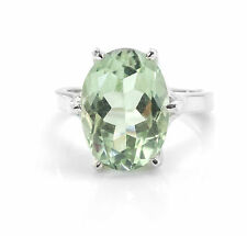 925 Sterling Silver Ring with Oval Green Amethyst Natural Gemstone Handcrafted