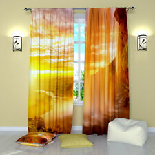 Iceland Waterfall Window Treatment Orange Curtains Panel (Set of 2), Polyester
