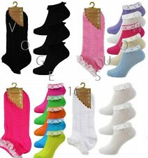 12 Pairs of Ladies/ Women Pretty Frilly Lace Trim Top Cotton TrainerAnklet Socks