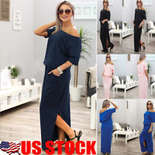Women's Casual Boho Long Maxi Dress Evening Cocktail Party Beach Dress Sundress