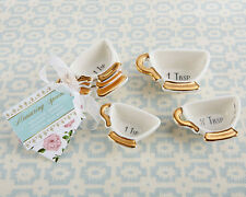 Gold & White Ceramic Tea Cup Measuring Spoon Bridal Wedding Party Favor