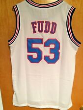 Tune Squad #53 Elmer Fudd Space Jam Basketball Stitched Jersey White Size S-2XL