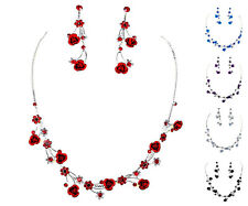 Faceted Metal Rose Flower Crystal Rhinestone Necklace & Earring Set