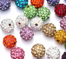 20 Czech Rhinestones Crystal Pave Clay Round Disco Ball Spacer Bead 10mm