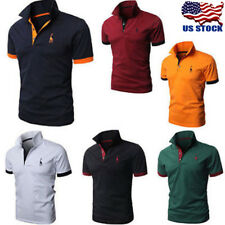 Luxury Mens Slim Fit Stylish Polo Shirt Short Sleeve Casual T-shirts Tee Tops US