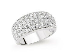 Dome Ring band ring Wedding band Eternity Platinum Plated Sterling Silver ring