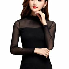 Women  Black Color Long Sleeve Short Length Stand Collar Lace Blouse