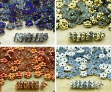 80pcs Crystal Half Small Flat Forget-Me-Not Flower Spacer Bead Caps Czech Glass