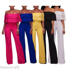 Summer Womens Fashion Off Shouler Jumpsuit Party Fromal Casual Loose Trousers HX