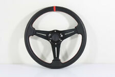 99-03 MIRAGE RED STITCHED BLACK LEATHER DRIFT RACING STEERING WHEEL+HUB ADAPTER