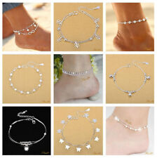 Fashion Ankle Bracelet Women 925 Sterling Silver Anklet Chain Beach Foot Jewelry