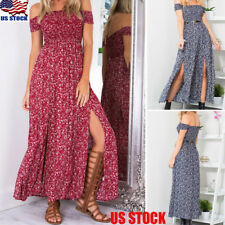Women's Summer Boho Split Beach Maxi Dress Off Shoulder Floral Print Long Dress