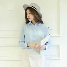 Women Chiffon Fabric  Long Sleeve Light Blue Color Plus Size Loose Shirt