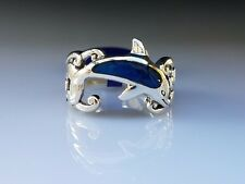 Dolphin Waves Paua Shell inlay sterling silver ring by Peter Stone Fine Jewelry
