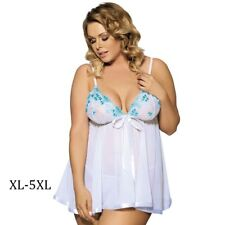 New Women Plus Size Sexy Embroidery Dress Whtie Babydoll Lingerie with G-string