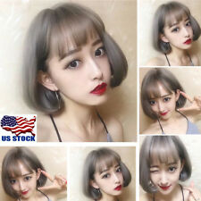 Women's Bangs Short Grey Ombre Wigs Straight BOB Fake Hair Cosplay Party Wig USA