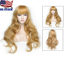25'' Women's Heat Resistant Hair Wigs Blonde Middle Long Curly Full Wig /Wig Cap